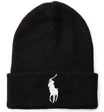 ORIGINALE POLO RALPH LAUREN BIG PONY con risvolto cappello beanie. Polo Black, Taglia unica, nuovo