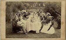 QUEEN VICTORIA OUTDOOR FAMILY PICNIC IN PARK ca 1860's CDV PHOTO BY W. F. TAYLOR