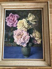ancien Tableau / Huile sur toile , beau bouquet de fleurs . nature morte
