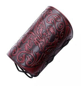 Archery Forearm Arm Guard Red Leather Medieval Sleeve Bracer Lace Closure