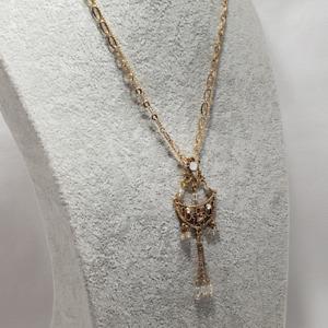 Womens Pendant Necklace Multi-Strand Gold Tone Filigree Diamante Oriental Style