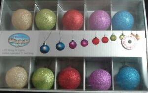"10 Glitter & Sparkle Lighted Glass 2"" Ball Ornaments, LED, battery powered"