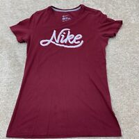 Nike Womens Short Sleeve T-Shirt Size Large Slim Fit Red