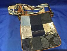 GENUINE COACH Denim Blue SIGNATURE Patchwork Slingback Crossbody Bag 10006 RARE