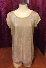 Mixed-Media Tan/Nude With Shine Top From Issi, Medium