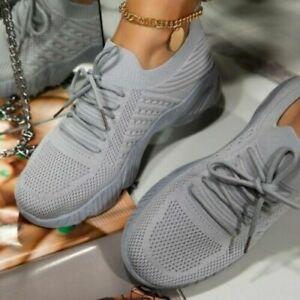 Fashion Womens Knit Platform Slip on Sneakers Running Trainers Walking Gym Comfy