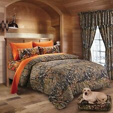 7PC QUEEN NATURAL CAMO COMFORTER AND ORANGE SHEET SET CAMOUFLAGE BED IN BAG