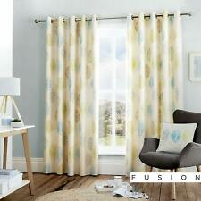"Curtains  90"" x90""  Lined Eyelet Teal Fusion Skandi Leaf NEW (J)"