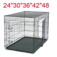 "24""/30""/36""/42""/48"" Pet Cat Dog Folding Steel Crate Playpen Wire Metal Two doors"