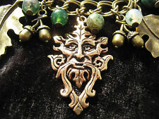 Greenman Bracelet Oak Leaf Tree of Life Acorns Moss Agate Gemstones  Pagan
