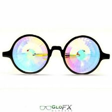 GloFx Black Kaleidoscope Glasses - Wormhole Rainbow - Australian Stock
