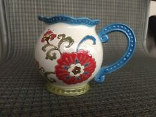 Dutch Wax by Coastline Imports Floral Cream Pitcher Handpainted
