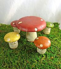 Clouseout! Dollhouse Miniature Fairy Garden Mushroom Dining Set