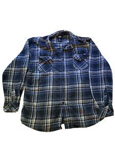Dickies XL Long Sleeve Flannel Button Up Shirt Blue