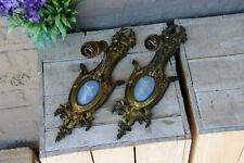 PAIR antique french bronze wegdwood porcelain plaque sconces wall lights