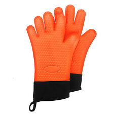 1 Pair BBQ Heat Resistant Silicone Oven Glove Cooking Mitts Microwave Kitchen