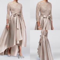 Hi-low Formal Mother of the Bride Dresses Lace Long Sleeve Evening Gowns custom