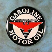 "Vintage Style Advertising Sign Fridge Magnet 2 1/4""  Independent Gas Oil 1930's"