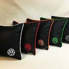 2 X Vw Embroidered Faux Leather 17 Inch Cushions With Fleece Blanket .Any Colour