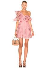 NWT Self-Portrait Lace Frill Mini Pink Off Shoulder Dress UK 8 US 4