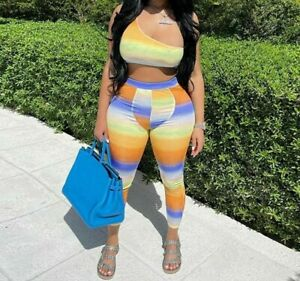 Gradient Printed Colorful Sporty Two Piece Outfits One Shoulder And Matching Set