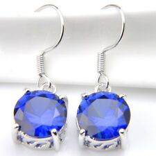 Lovely Round London Blue Topaz Gemstone Silver Dangle Hook Earrings