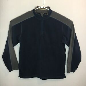 REI Mens Large 1/4 Zip Pullover Blue And Gray Fleece Side Pocket