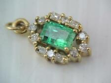GORGEOUS 14K SOLID GOLD DIAMOND AND EMERALD CHARM