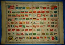 Vintage 1864 Johnson Atlas Chart - FLAGS & EMBLEMS of the WORLD'S NATIONS