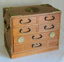 "JAPANESE TANSU JEWELRY BOX 6 DRAWER CHEST 12"" Wood, Brass Pulls Cornices Handles"