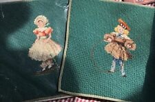 """Victorian Children 2 Completed needlepoint pieces Green background 10"""" x 10"""""""