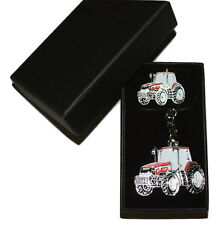 Case International Red Tractor Keyring & Pin Badge Set Farming GIFT Set Boxed