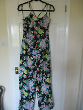 Pretty black with floral print lightweight jumpsuit  - Size 10