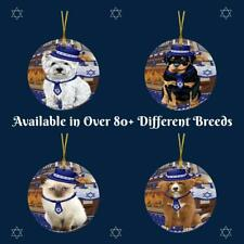 Happy Hanukkah Dog Cat Round Flat Christmas Tree Ornament Decor Gifts