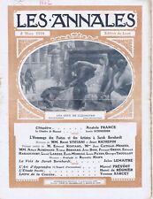 Les annales n°1602 du 08/03/1914 Cléopatre Anatole France Sarah Bernahardt