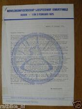 1975 WK IJSSPEEDWAY KWARTFINALE ASSEN 1/2-2-1975 PRESSE INFO