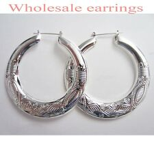 12 PAIRS NEW WHOLESALE FASHION LOT JEWELRY EARRINGS-SILVER PLATED COLOR