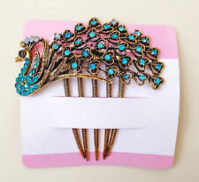 Peacock Rhinestone Beads Metal Hair Comb Clip Pin in Blue