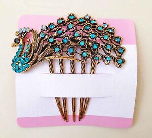 Peacock Rhinestone Beads Metal Hair Comb Clip Pin in Blue