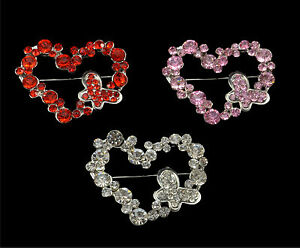 SILVER TONE HEART BUTTERFLY BROOCH IN CLEAR, RED OR PINK CRYSTALS