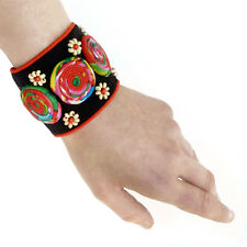 BRACELET MANCHETTE tissu perles fermoir bouton NOIR ROUGE spirales multicolores