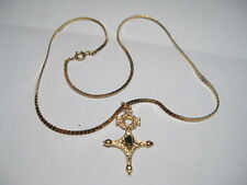 """Vintage Goldtone Serpintine Necklace with Lord of the Rings type Pendant -16"""""""
