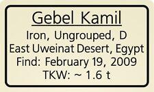 Meteorite label Gebel Kamil