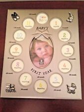 "Baby's 1st Year Photo Frame, 11.5"" x 9.5"", 12 Sm + 1 Lg Photos, Cupecoy, Nib"