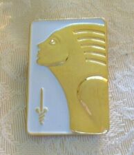 Free S&H 1 1/8 by 7/8 Inch Art Deco Lady Egyptian Pharaoh? Small enameled Pin