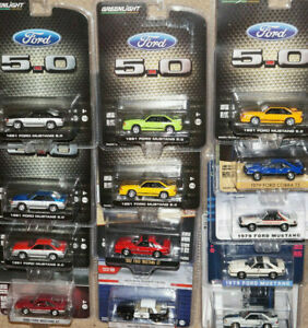 GREENLIGHT 1979 1982 1987 1991 1988 FORD MUSTANG 5.0 FOXBODY LOT SET 1/64 SCALE