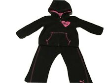 Puma Baby Girls 2-pc Sweatsuit Hooded Fleece Full Zip Black w/Pink Sz 18 Months