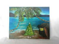 "Original Acrylic Painting 8""x10"" Canvas Panel, Christmas Beach Island  Art Decor"
