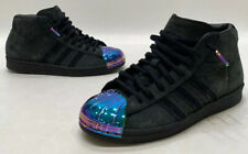 Adidas Pro Model Womens Black Suede Shimmer Toe Casual Mid Top Shoes Size 7