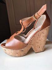 Dune Ladies Women Brown Leather High Heel Sandal Platform Wedge Shoe Size 7 40